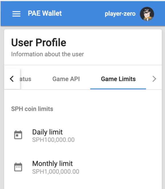 Enable/disable your Game API Limits in PAE Wallet